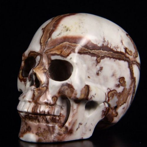 "Chinese Painting Stone Realistic Carved Gemstone Crystal Skull 2"" Inch SK55"